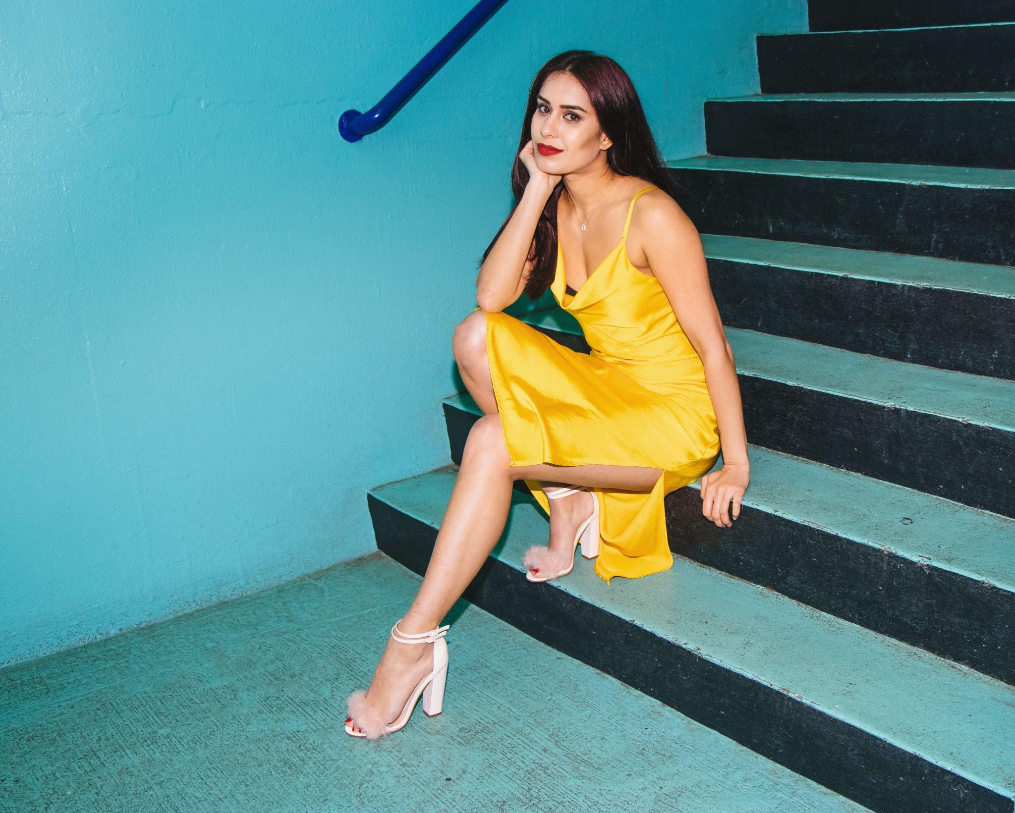 Reena Rai yellow silk topshop dress 4