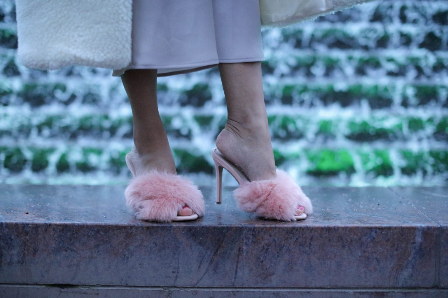 Topshop pink furry fluffy mules